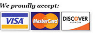 We accept Visa, Mastercard and Discover!